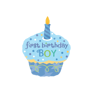 Happy 1st Birthday Boy Cupcake Balloon in a Box