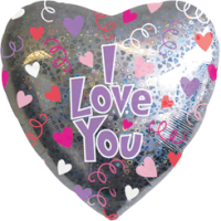 Silver I Love You Heart Balloon in a Box