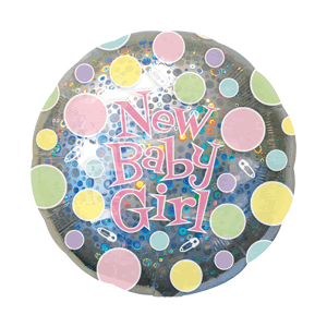 New Baby Girl Silver Dots Balloon in a Box