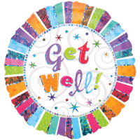 Get Well Sparkle Stripes Balloon in a Box