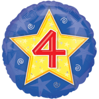 Number Four Star Balloon in a Box