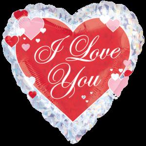Love You Script Hearts Prismatic Balloon in a Box