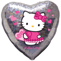 Holographic Hello Kitty Pink Hearts Balloon in a Box