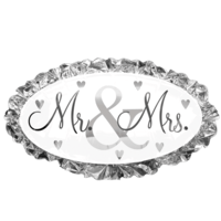 Mr & Mrs Silver Oval Balloon in a Box