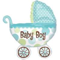 Baby Boy Pram Balloon in a Box