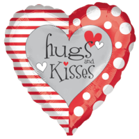 Hugs and Kisses Red and White Heart Balloon in a Box