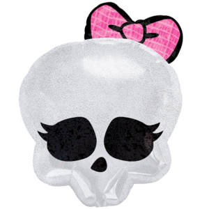 White & Pink Skull Balloon in a Box