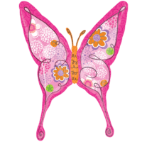 "37"" Pink Floral Swallowtail Butterfly Balloon in a Box"