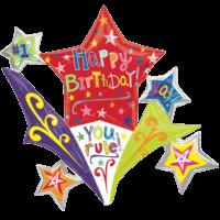 Mega Happy Birthday Shooting Stars Balloon in a Box