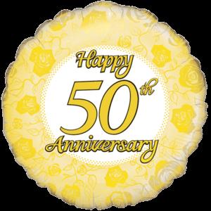 Golden 50th Anniversary Balloon in a Box