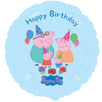 Blue Happy Birthday Peppa Pig