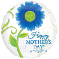Happy Mother`s Day Blue Flower Clear Balloon in a Box