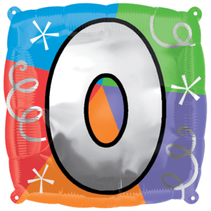 Number 0 Colourful Shapes Balloon in a Box