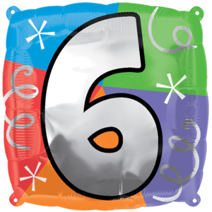 Number 6 Colourful Shapes Balloon in a Box