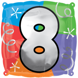 Number 8 Colourful Shapes Balloon in a Box