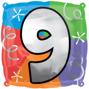 Number 9 Colourful Shapes Balloon in a Box