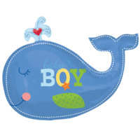 Blue Whale Baby Boy Balloon in a Box