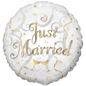 Gold & White Just Married Balloon in a Box