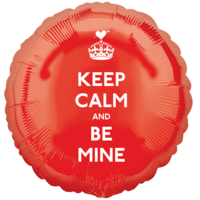 Keep Calm And Be Mine Red Round Balloon in a Box
