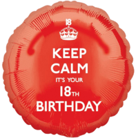 Keep Calm Red 18th Birthday Balloon in a Box