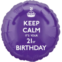 Purple Keep Calm 21st Birthday Balloon in a Box