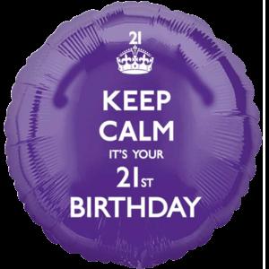 Purple Keep Calm 21st Birthday Balloon in a Box