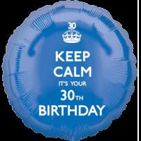 Blue Keep Calm 30th Birthday Balloon in a Box