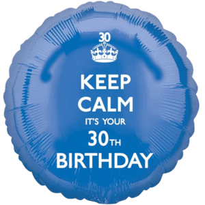 Blue Keep Calm 30th Birthday Balloon in a Box