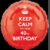 Red Keep Calm 40th Birthday Balloon in a Box