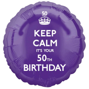 Purple Keep Calm 50th Birthday Balloon in a Box