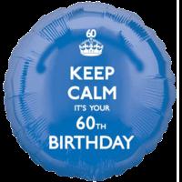 Keep Calm 60th Birthday Blue Balloon in a Box