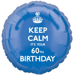 Keep Calm 60th Birthday Blue Balloon in a Box