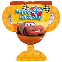 4th Birthday Cars Trophy Balloon in a Box