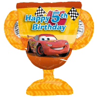 5th Birthday Cars Trophy  Balloon in a Box