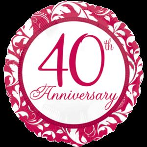 "18"" Ruby 40th Anniversary Balloon in a Box"