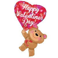 Valentine's Bear with Heart Balloon in a Box
