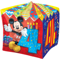 4th Birthday Mickey Mouse cubez Balloon in a Box