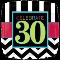 Stripy 30th Birthday Balloon in a Box