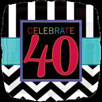 Stripy 40th Birthday Balloon in a Box