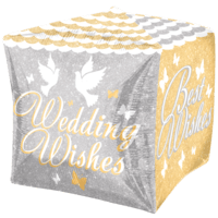 Wedding Wishes Shimmering Cube Balloon in a Box