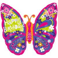 """25"""" Happy Birthday Beautiful Butterfly Balloon in a Box"""