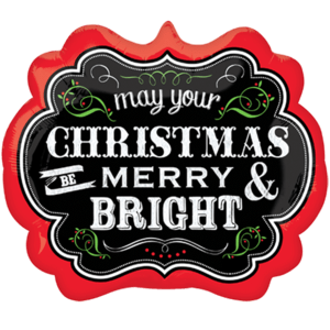 Chalkboard Merry and Bright Christmas Balloon in a Box