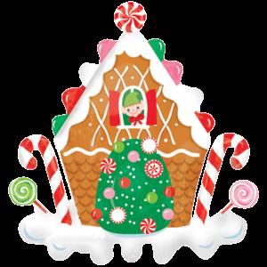 Elves Gingerbread House Balloon in a Box