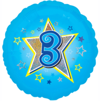 Blue Stars Number 3 Balloon in a Box