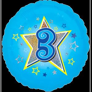3 Blue Stars Balloon in a Box