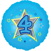 Blue Stars Number 4 Balloon in a Box