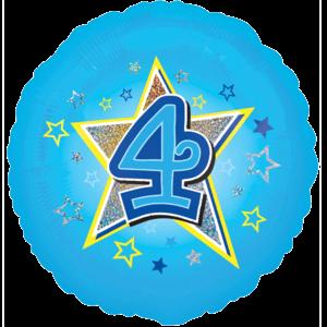 4 Blue Stars Balloon in a Box