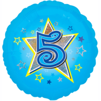 Blue Stars Number 5 Balloon in a Box