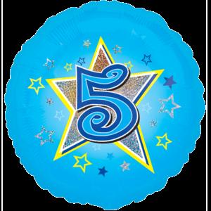 5 Blue Stars Balloon in a Box