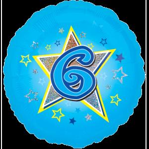 6 Blue Stars Balloon in a Box
